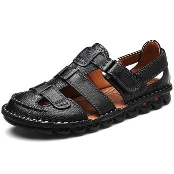 UPIShi Mens Casual Closed Toe Leather Sandals